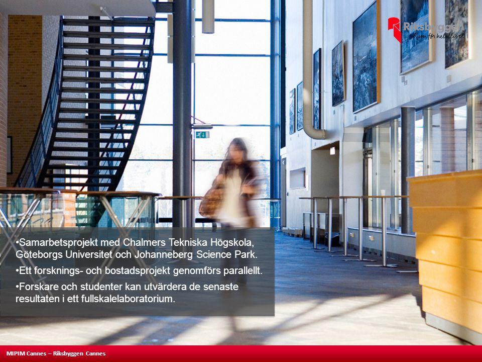 MIPIM Cannes – Riksbyggen Cannes •Samarbetsprojekt med Chalmers Tekniska Högskola, Göteborgs Universitet och Johanneberg Science Park. •Ett forsknings