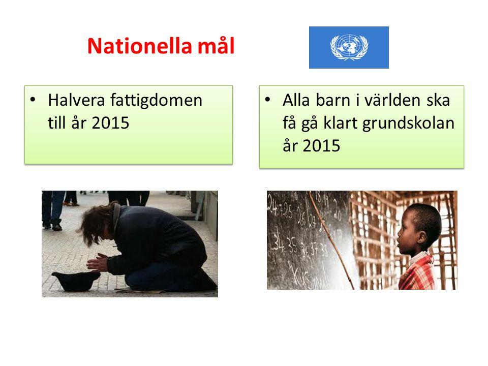 Nationella mål • Halvera fattigdomen till år 2015 • Alla barn i världen ska få gå klart grundskolan år 2015