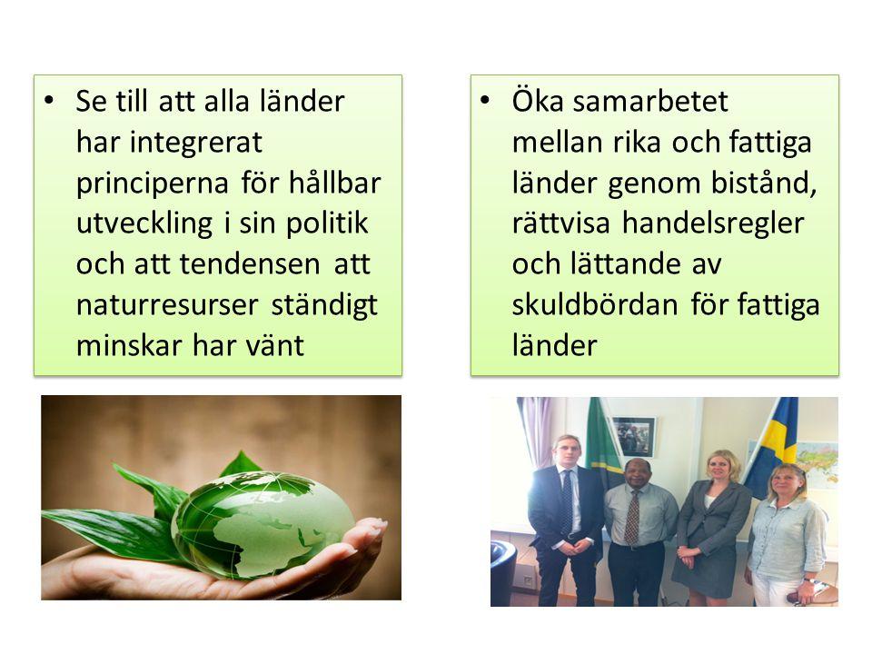 • Se till att alla länder har integrerat principerna för hållbar utveckling i sin politik och att tendensen att naturresurser ständigt minskar har vän