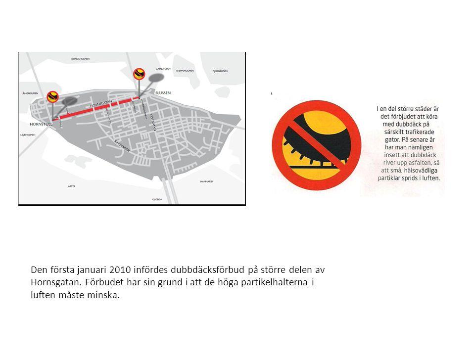 Den första januari 2010 infördes dubbdäcksförbud på större delen av Hornsgatan. Förbudet har sin grund i att de höga partikelhalterna i luften måste m