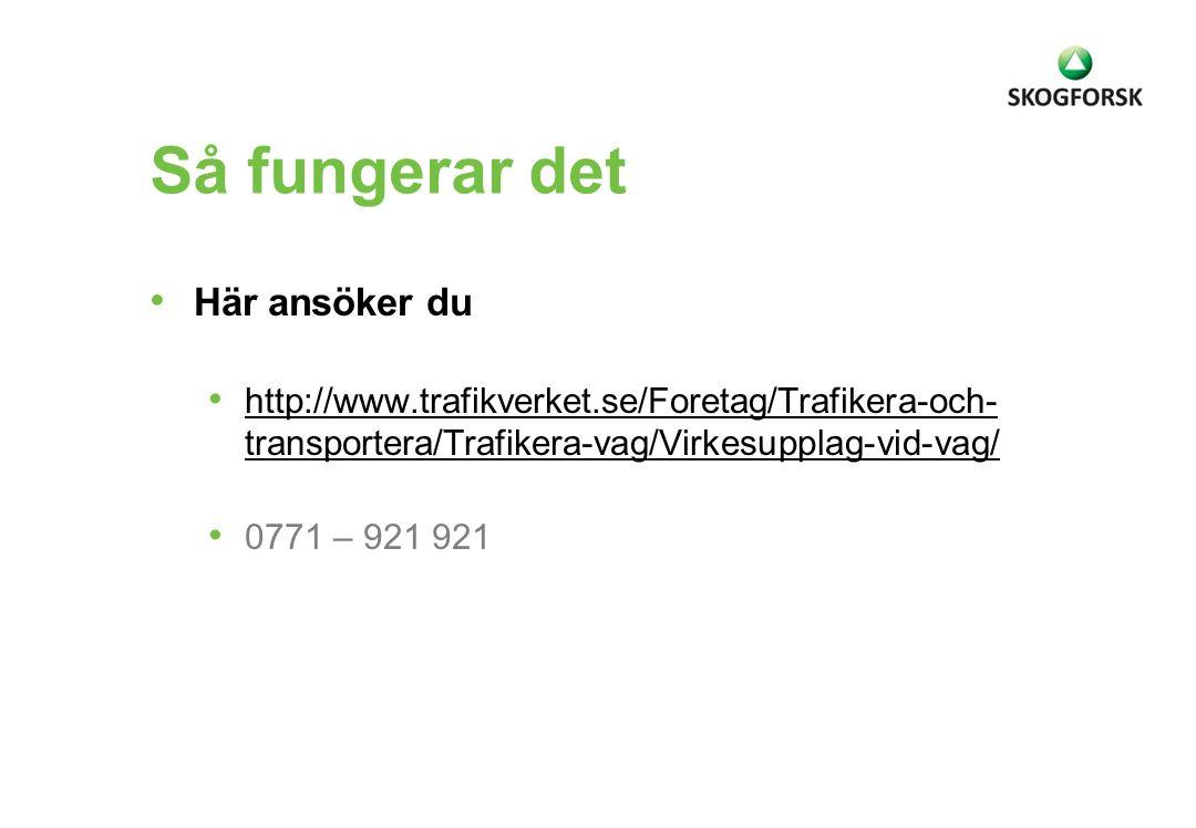 Så fungerar det • Här ansöker du • http://www.trafikverket.se/Foretag/Trafikera-och- transportera/Trafikera-vag/Virkesupplag-vid-vag/ http://www.trafi