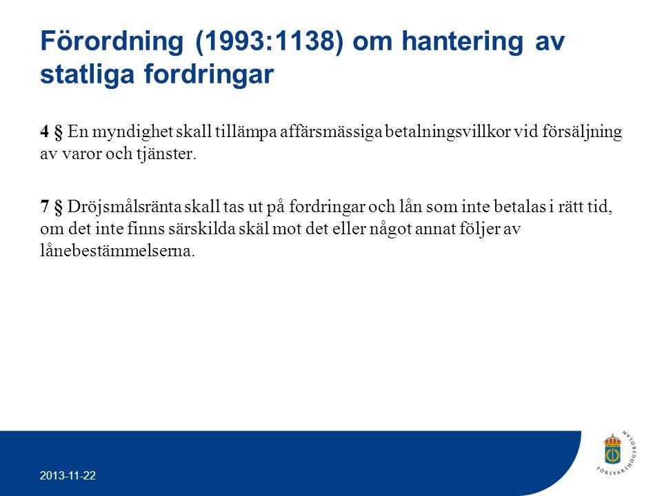 2013-11-22 Förordning (1993:1138) om hantering av statliga fordringar 4 § En myndighet skall tillämpa affärsmässiga betalningsvillkor vid försäljning