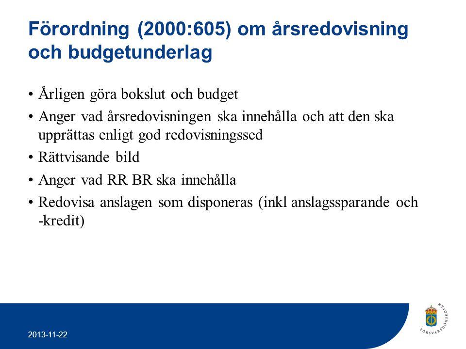 2013-11-22 Förordning (2000:605) om årsredovisning och budgetunderlag •Årligen göra bokslut och budget •Anger vad årsredovisningen ska innehålla och a