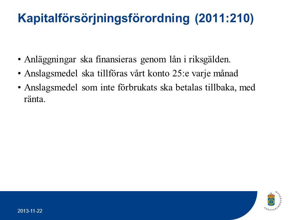 2013-11-22 Kapitalförsörjningsförordning (2011:210) •Anläggningar ska finansieras genom lån i riksgälden. •Anslagsmedel ska tillföras vårt konto 25:e