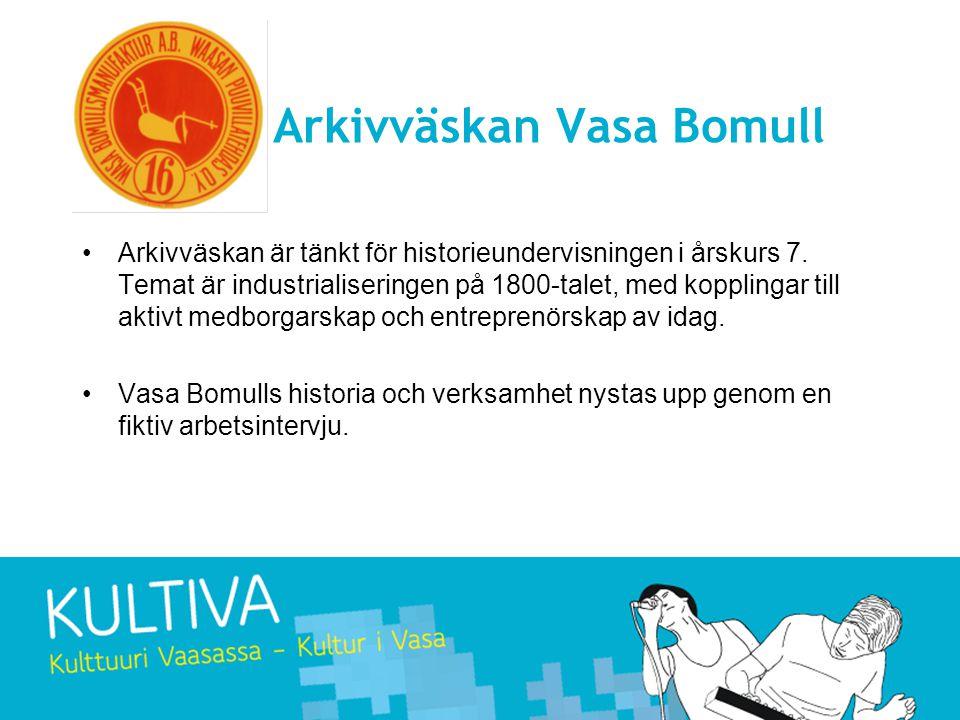 Arkivväskan Vasa Bomull •Arkivväskan är tänkt för historieundervisningen i årskurs 7.