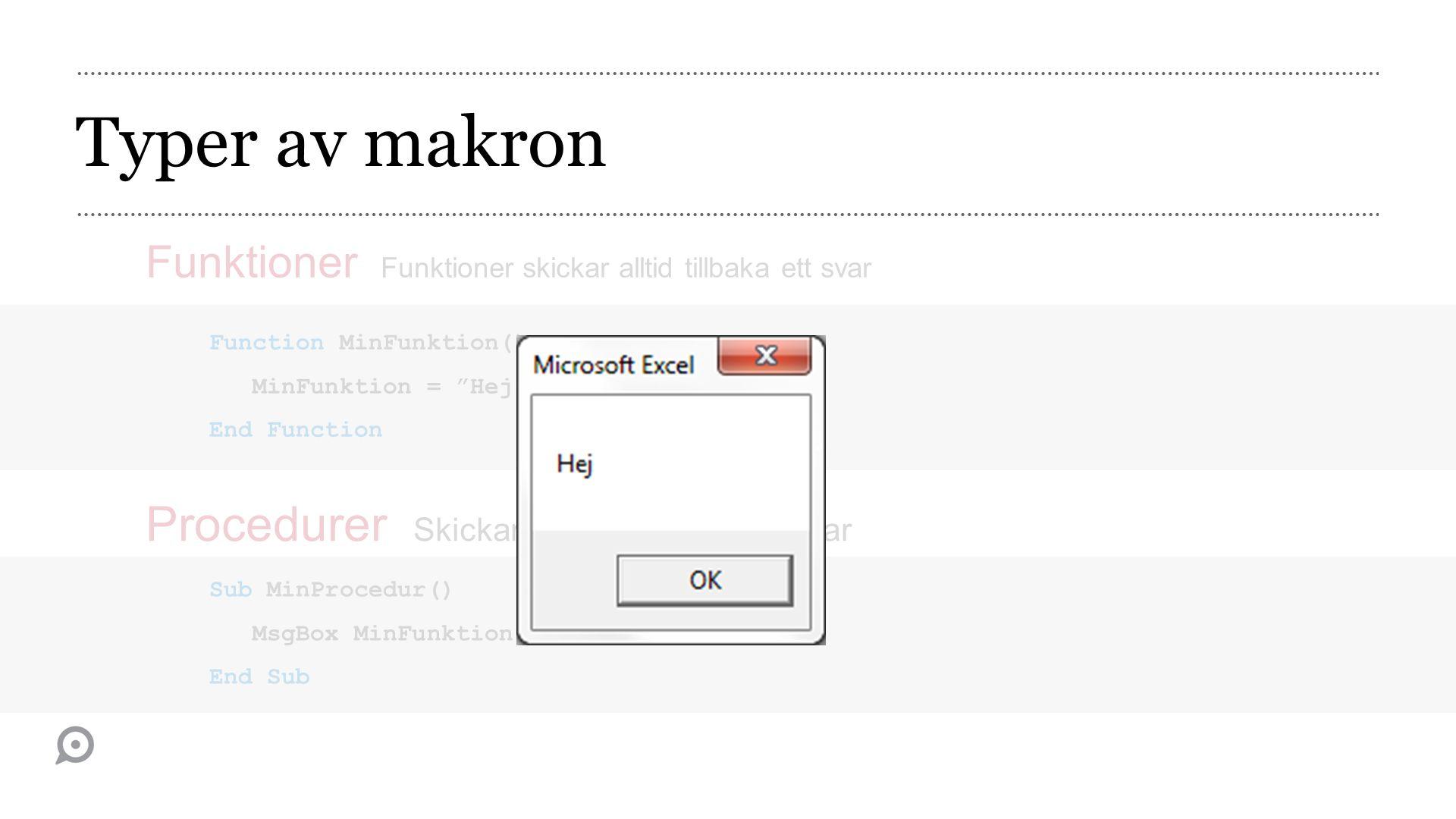Typer av makron Funktioner Funktioner skickar alltid tillbaka ett svar Function MinFunktion() MinFunktion = Hej End Function Sub MinProcedur() MsgBox MinFunktion() End Sub Procedurer Skickar inte tillbaka något svar
