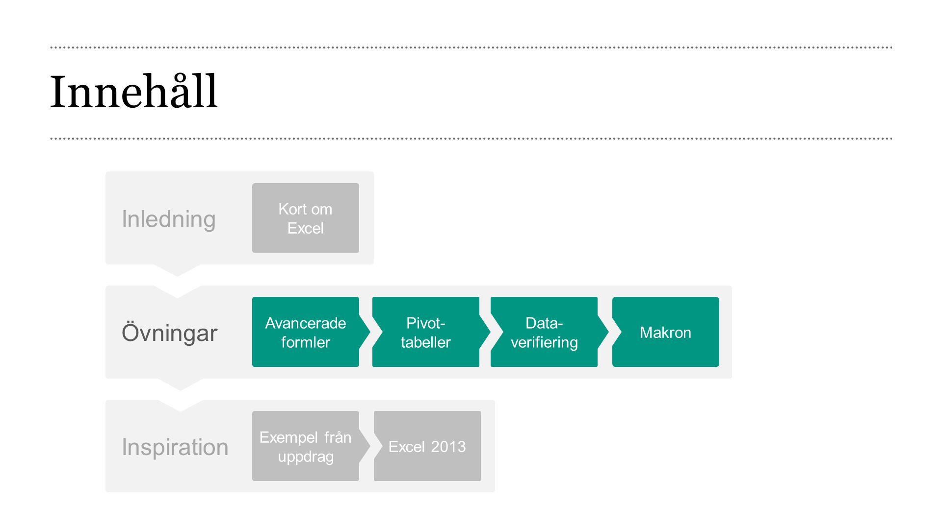 Innehåll Inledning Kort om mig Knowit Excel Övningar Sortera och filtrera Formler Fönsteralternativ Villkorsstyrd formatering Låsa kalkylblad Diagram