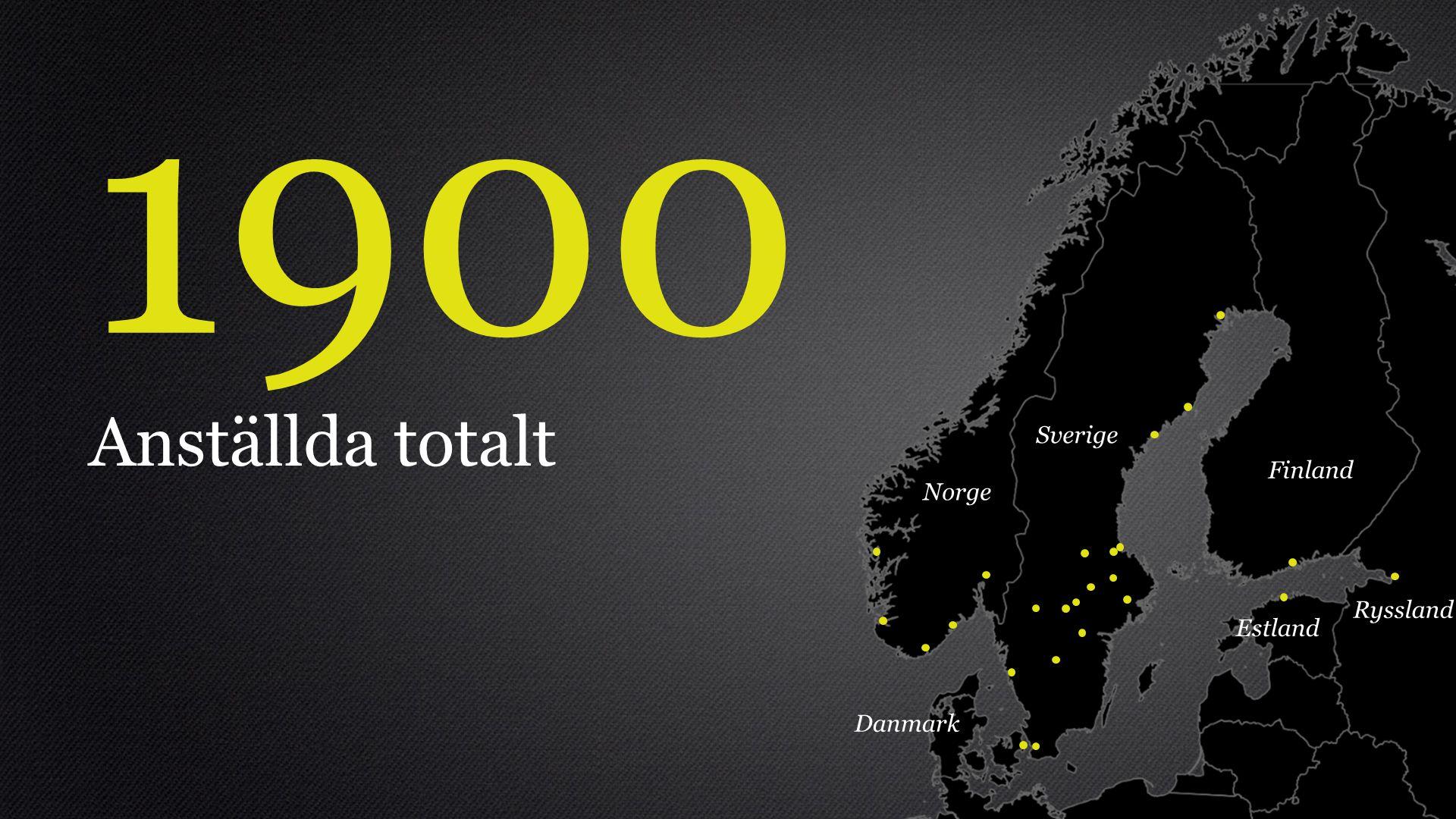 1900 Anställda totalt Sverige Norge Finland Danmark Estland Ryssland