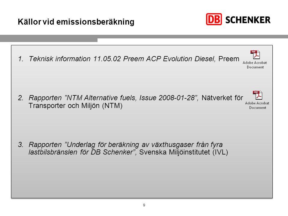 """Källor vid emissionsberäkning 1.Teknisk information 11.05.02 Preem ACP Evolution Diesel, Preem 2.Rapporten """"NTM Alternative fuels, Issue 2008-01-28"""","""
