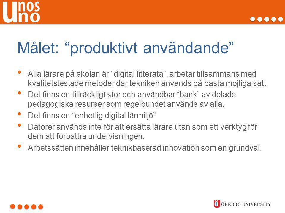 """Målet: """"produktivt användande"""" • Alla lärare på skolan är """"digital litterata"""", arbetar tillsammans med kvalitetstestade metoder där tekniken används p"""
