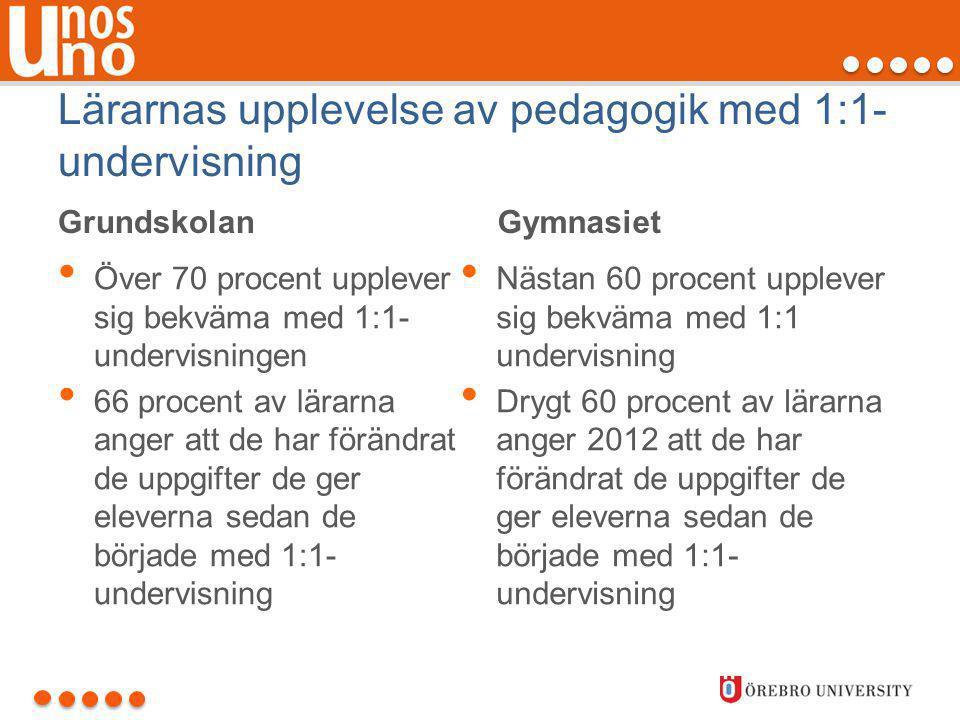 Lärarnas upplevelse av pedagogik med 1:1- undervisning Grundskolan • Över 70 procent upplever sig bekväma med 1:1- undervisningen • 66 procent av lära
