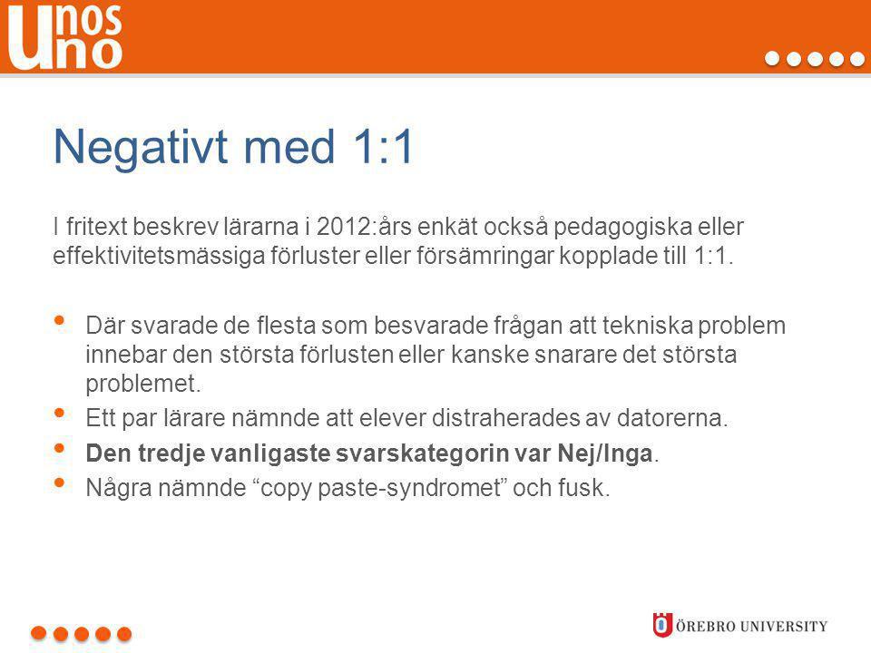 Negativt med 1:1 I fritext beskrev lärarna i 2012:års enkät också pedagogiska eller effektivitetsmässiga förluster eller försämringar kopplade till 1:
