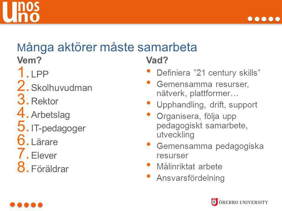 """M ånga aktörer måste samarbeta Vem? 1. LPP 2. Skolhuvudman 3. Rektor 4. Arbetslag 5. IT-pedagoger 6. Lärare 7. Elever 8. Föräldrar Vad? • Definiera """"2"""