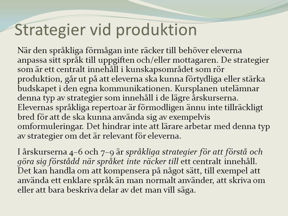 Strategier vid produktion När den språkliga förmågan inte räcker till behöver eleverna anpassa sitt språk till uppgiften och/eller mottagaren. De stra