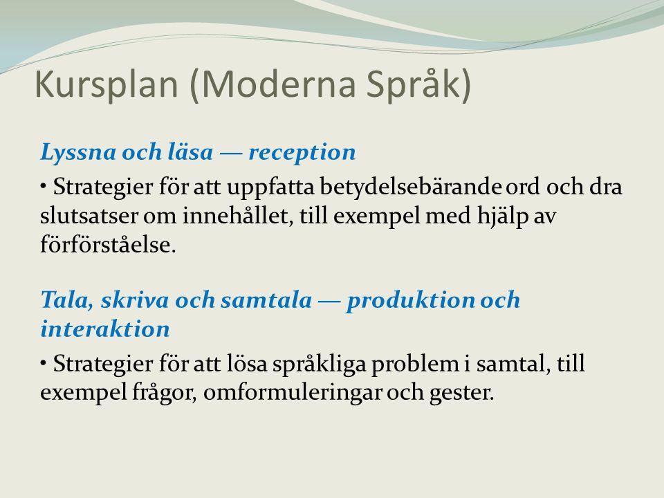 Kursplan (Moderna Språk) Lyssna och läsa — reception • Strategier för att uppfatta betydelsebärande ord och dra slutsatser om innehållet, till exempel