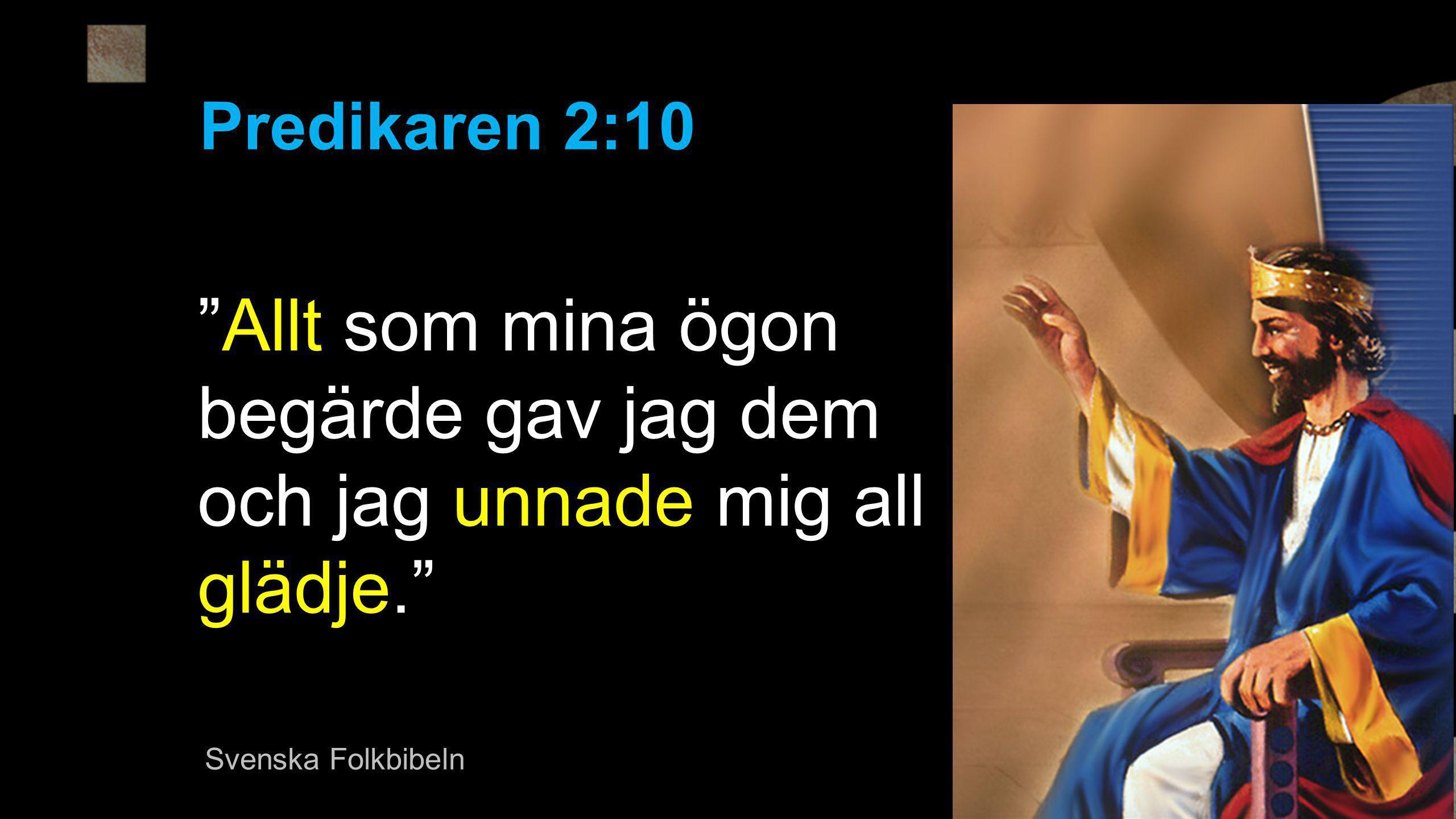"""""""Allt som mina ögon begärde gav jag dem och jag unnade mig all glädje."""" Predikaren 2:10 Svenska Folkbibeln"""