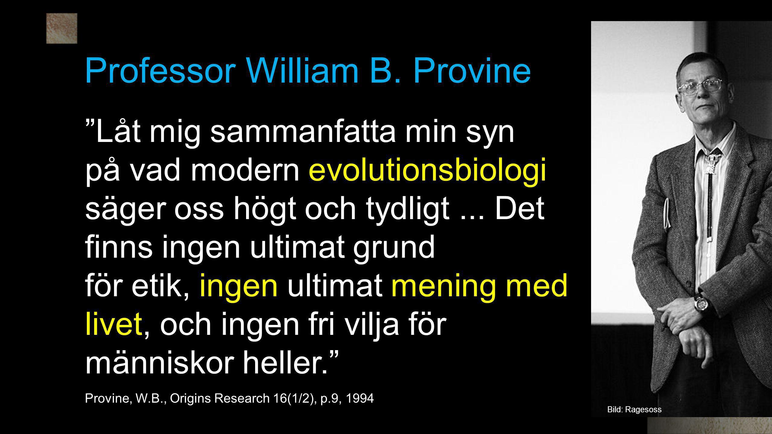 """Professor William B. Provine """"Låt mig sammanfatta min syn på vad modern evolutionsbiologi säger oss högt och tydligt... Det finns ingen ultimat grund"""