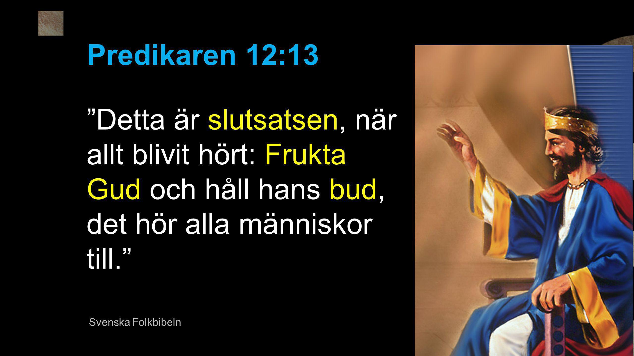 Detta är slutsatsen, när allt blivit hört: Frukta Gud och håll hans bud, det hör alla människor till. Predikaren 12:13 Svenska Folkbibeln