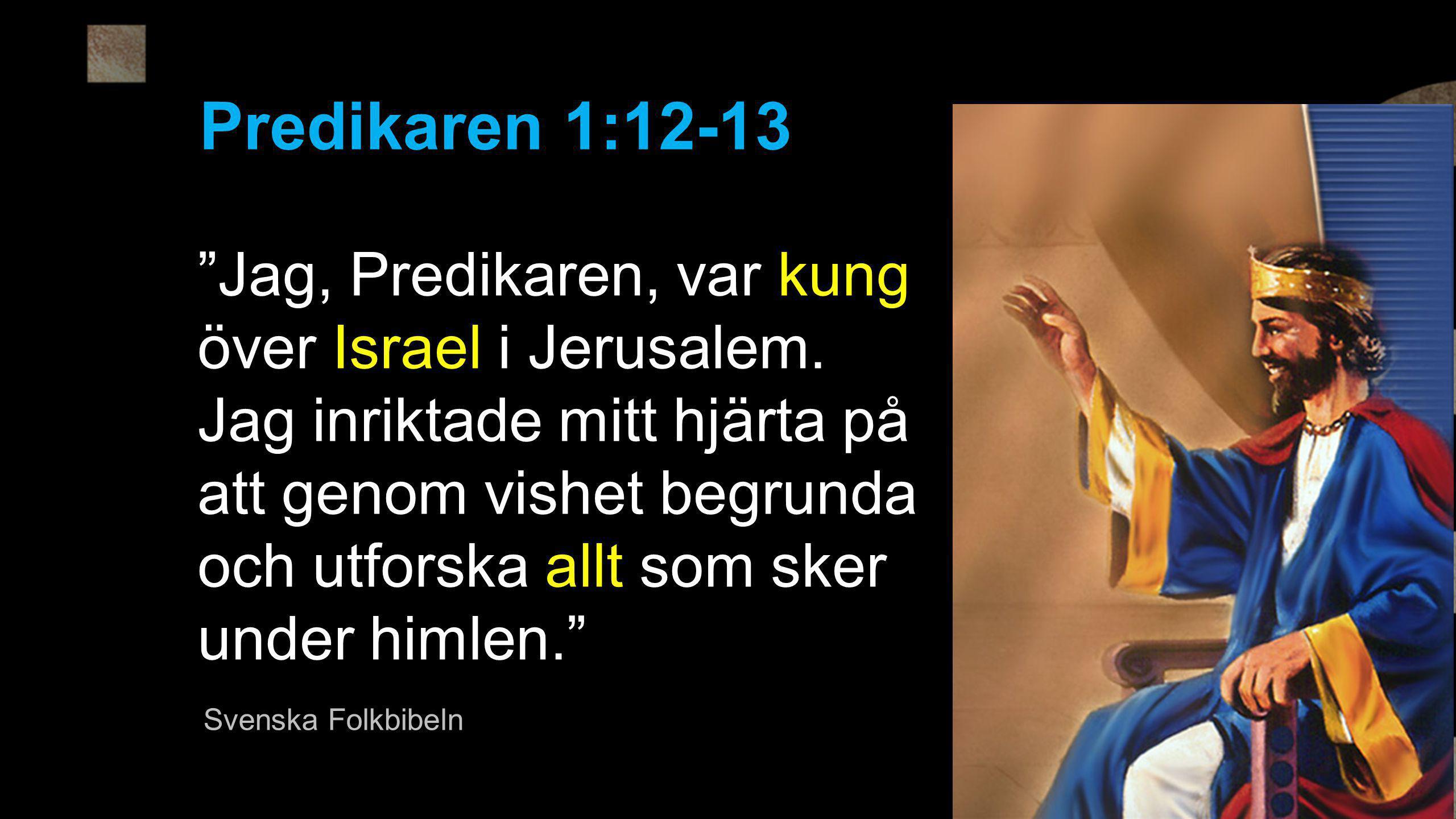 """""""Jag, Predikaren, var kung över Israel i Jerusalem. Jag inriktade mitt hjärta på att genom vishet begrunda och utforska allt som sker under himlen."""" P"""