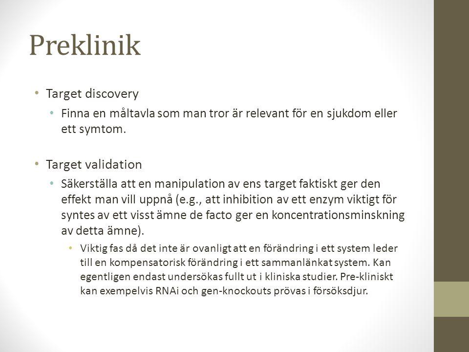 Preklinik • Target discovery • Finna en måltavla som man tror är relevant för en sjukdom eller ett symtom. • Target validation • Säkerställa att en ma