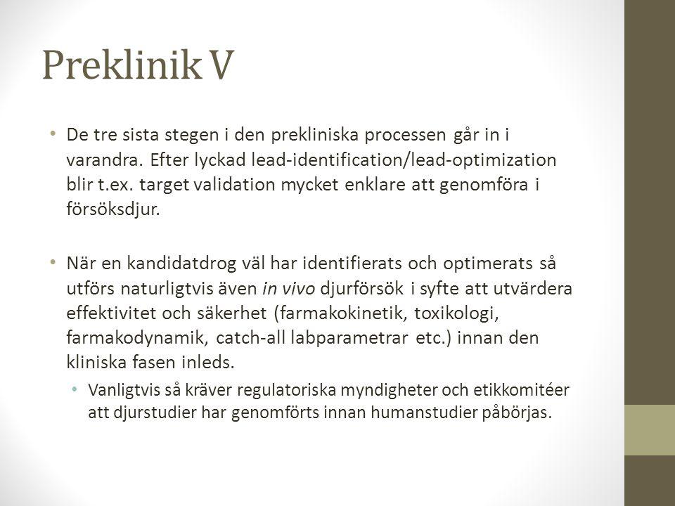 Preklinik V • De tre sista stegen i den prekliniska processen går in i varandra. Efter lyckad lead-identification/lead-optimization blir t.ex. target