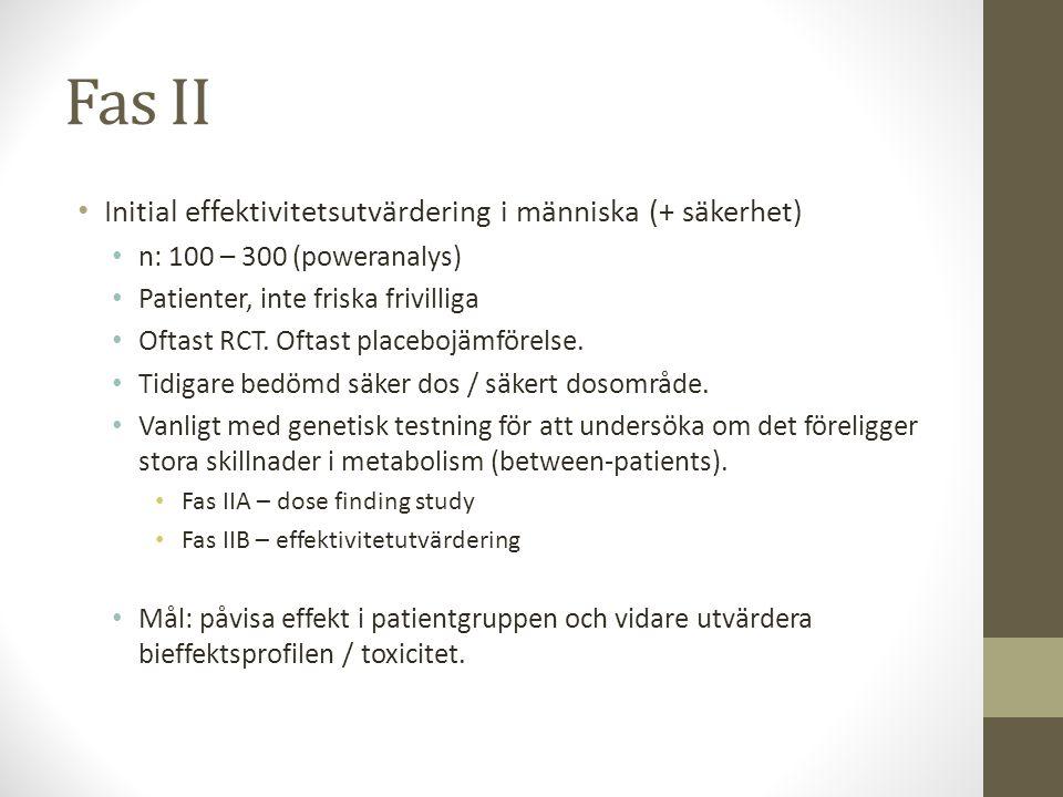 Fas II • Initial effektivitetsutvärdering i människa (+ säkerhet) • n: 100 – 300 (poweranalys) • Patienter, inte friska frivilliga • Oftast RCT. Oftas