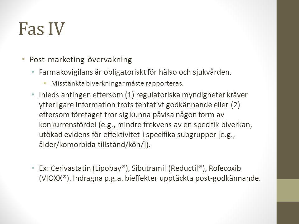 Fas IV • Post-marketing övervakning • Farmakovigilans är obligatoriskt för hälso och sjukvården. • Misstänkta biverkningar måste rapporteras. • Inleds