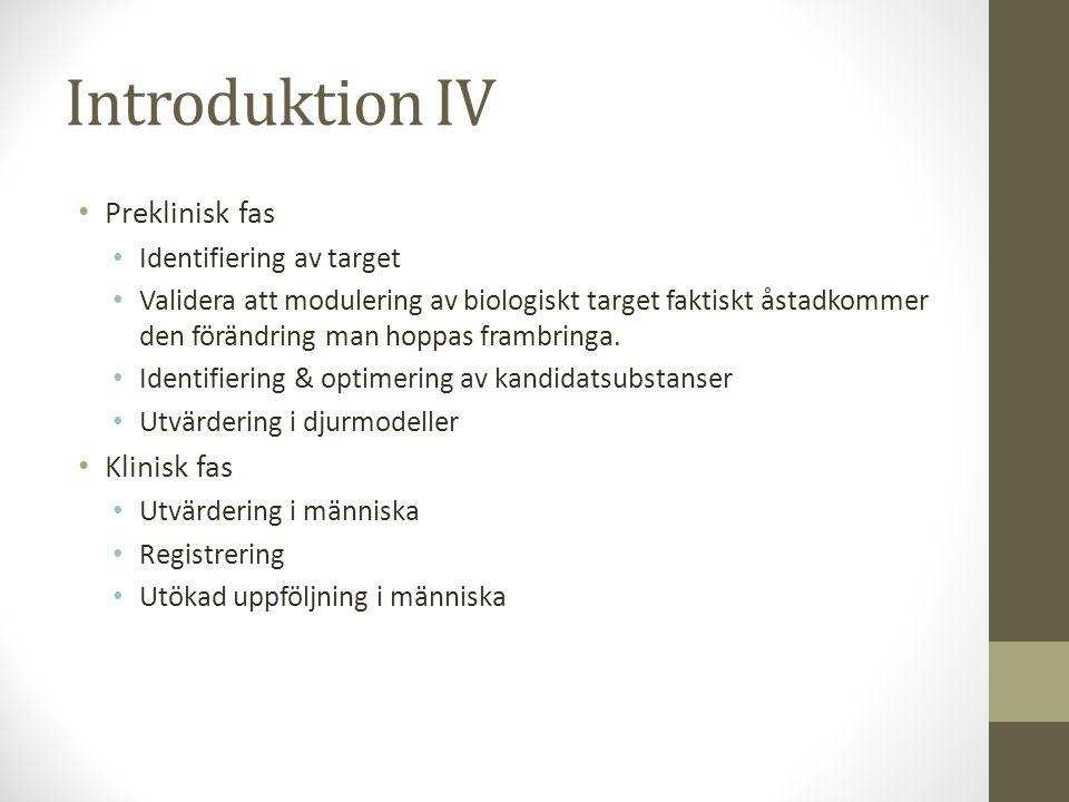 Introduktion IV • Preklinisk fas • Identifiering av target • Validera att modulering av biologiskt target faktiskt åstadkommer den förändring man hopp
