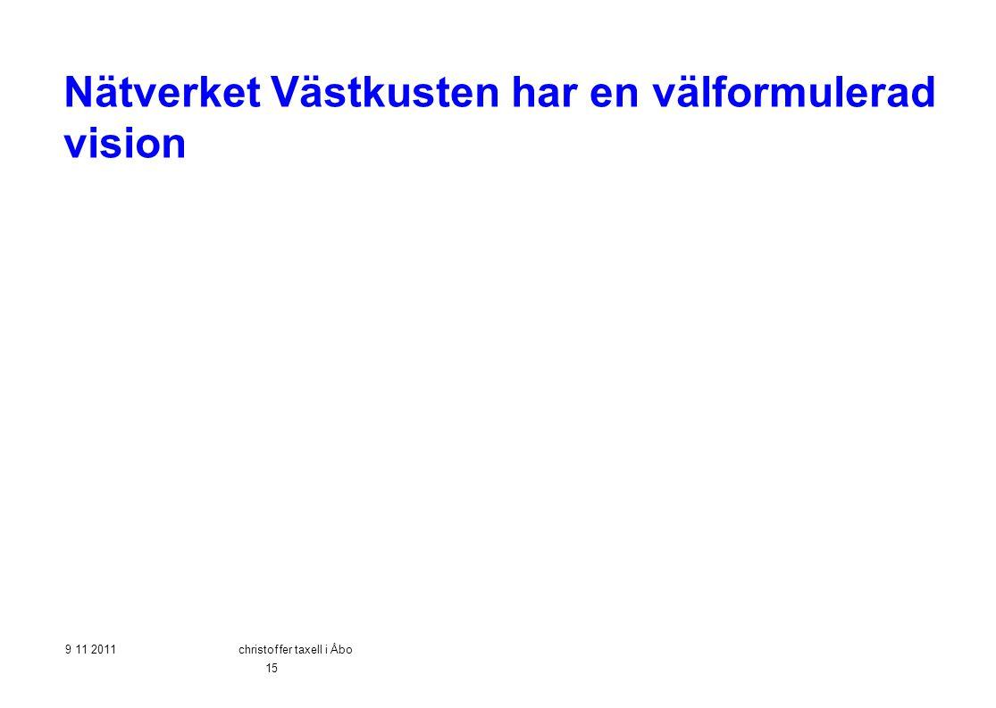 Nätverket Västkusten har en välformulerad vision 9 11 2011christoffer taxell i Åbo 15