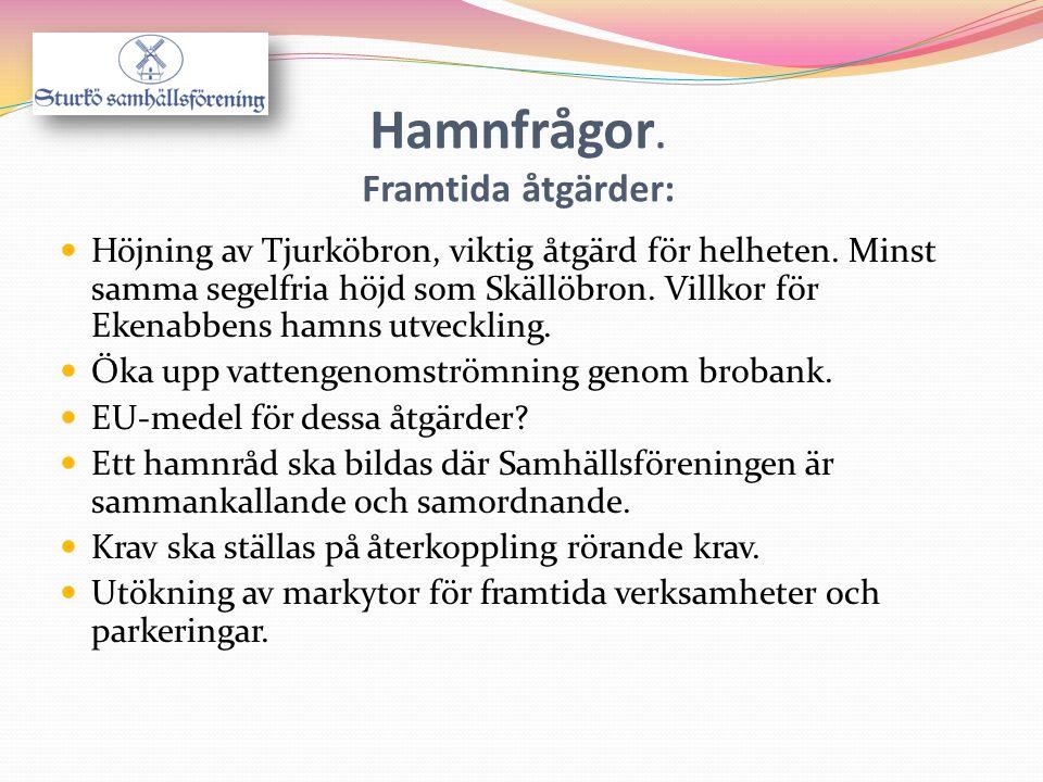  Höjning av Tjurköbron, viktig åtgärd för helheten. Minst samma segelfria höjd som Skällöbron. Villkor för Ekenabbens hamns utveckling.  Öka upp vat