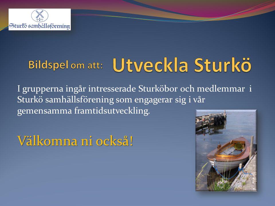 I grupperna ingår intresserade Sturköbor och medlemmar i Sturkö samhällsförening som engagerar sig i vår gemensamma framtidsutveckling. Välkomna ni oc
