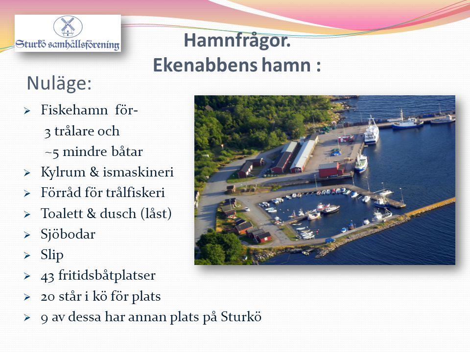 Hamnfrågor. Ekenabbens hamn : Nuläge:  Fiskehamn för- 3 trålare och ~5 mindre båtar  Kylrum & ismaskineri  Förråd för trålfiskeri  Toalett & dusch