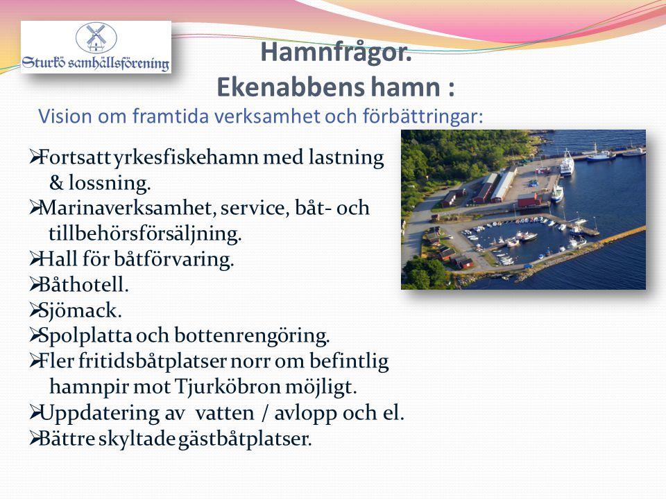  Fortsatt yrkesfiskehamn med lastning & lossning.  Marinaverksamhet, service, båt- och tillbehörsförsäljning.  Hall för båtförvaring.  Båthotell.
