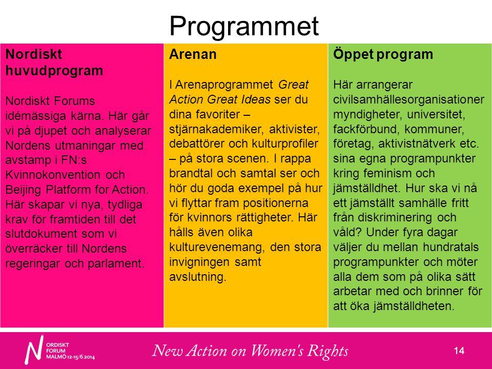 14 Programmet Nordiskt huvudprogram Nordiskt Forums idémässiga kärna.