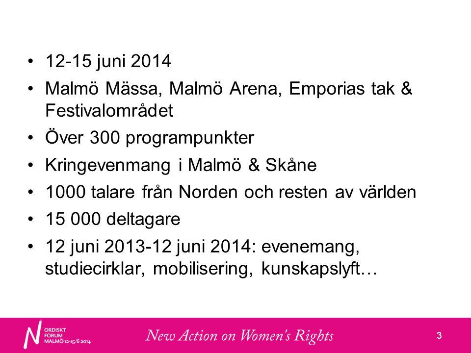 33 •12-15 juni 2014 •Malmö Mässa, Malmö Arena, Emporias tak & Festivalområdet •Över 300 programpunkter •Kringevenmang i Malmö & Skåne •1000 talare från Norden och resten av världen •15 000 deltagare •12 juni 2013-12 juni 2014: evenemang, studiecirklar, mobilisering, kunskapslyft…