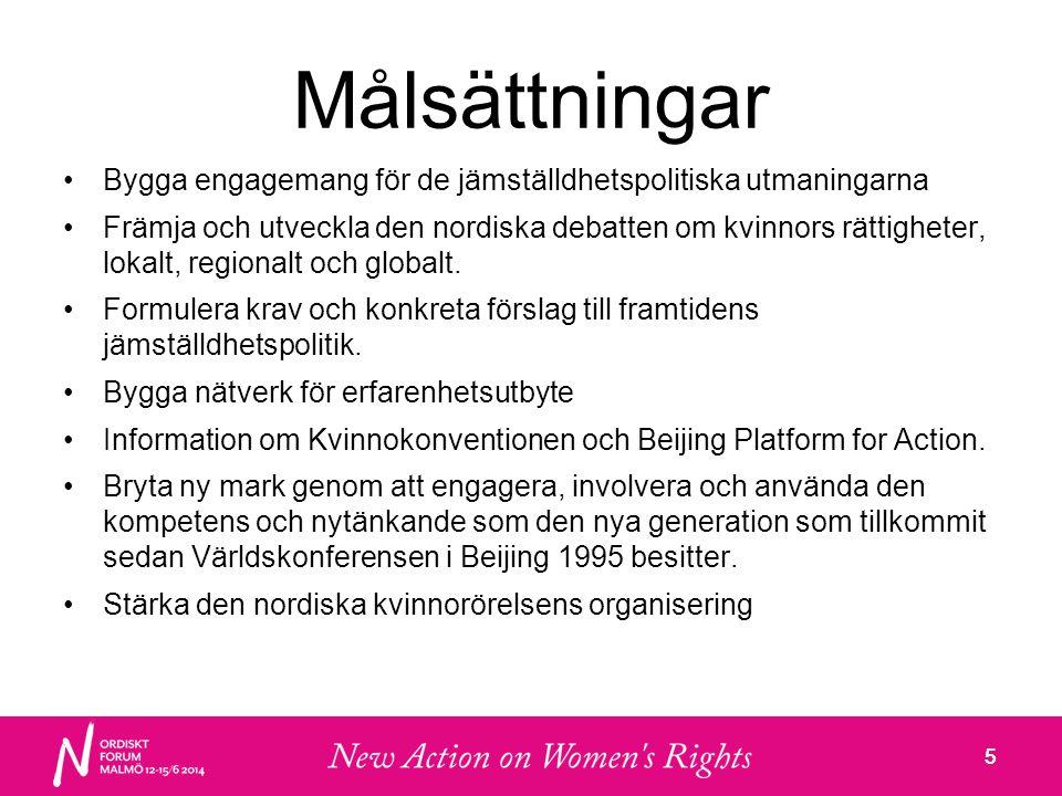 5 Målsättningar •Bygga engagemang för de jämställdhetspolitiska utmaningarna •Främja och utveckla den nordiska debatten om kvinnors rättigheter, lokalt, regionalt och globalt.