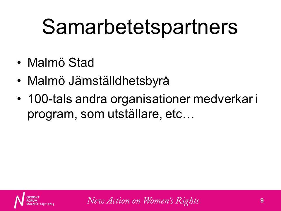9 Samarbetetspartners •Malmö Stad •Malmö Jämställdhetsbyrå •100-tals andra organisationer medverkar i program, som utställare, etc… 9