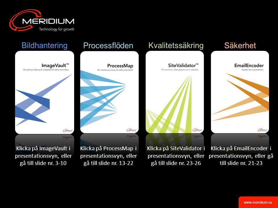 www.meridium.se •Bildades 2002, idag 27 anställda •Två bolag – Meridium och Meriworks •Meriworks är Meridiums produktbolag vars affärsmodell bygger på ett partnernätverk på över 80 partners •Hundratals installationer världen över •Supporterar våra partners installationer ImageVault TM