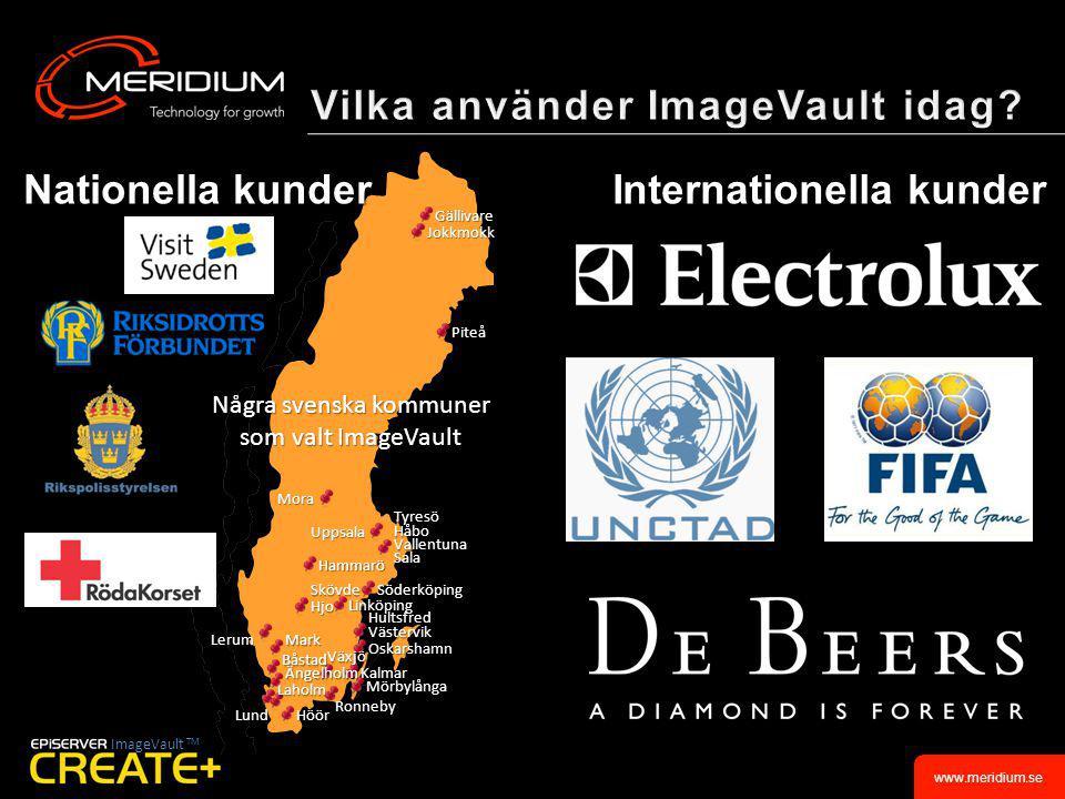 www.meridium.se Internationella kunder ImageVault TM TyresöHåboVallentunaSala Höör Kalmar SkövdeHjo Jokkmokk Oskarshamn Växjö Båstad Söderköping Gällivare Mörbylånga HultsfredVästervik Hammarö Uppsala Mark Lerum Lund Laholm Piteå Ronneby Nationella kunder Några svenska kommuner som valt ImageVault Ängelholm Mora Linköping