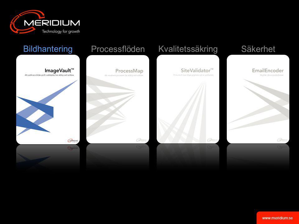 www.meridium.se •Processillustration direkt på webben •Versionshantering •Länkverktyg för att länka processer till relaterad information •Kategorisera länkar •Återanvändning av gamla processer •Välkända MS Office miljöer •Infoga bilder in i processerna •Möjlighet att skapa egna symboler ImageVault TM Process