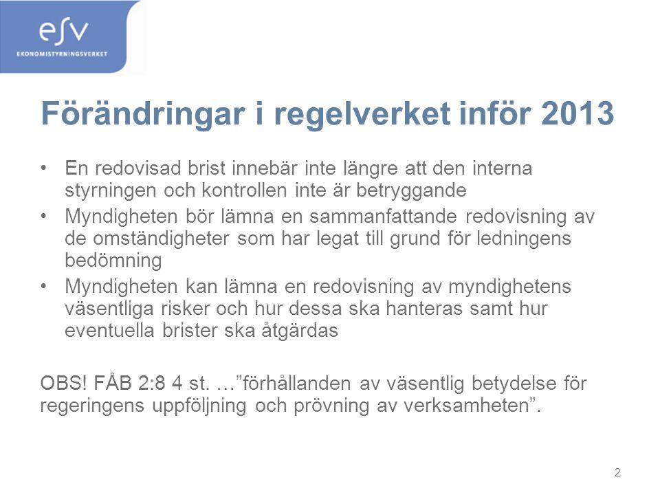 Förändringar i regelverket inför 2013 •En redovisad brist innebär inte längre att den interna styrningen och kontrollen inte är betryggande •Myndighet
