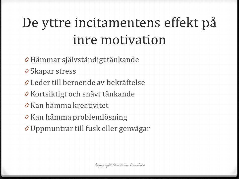 De yttre incitamentens effekt på inre motivation 0 Hämmar självständigt tänkande 0 Skapar stress 0 Leder till beroende av bekräftelse 0 Kortsiktigt oc
