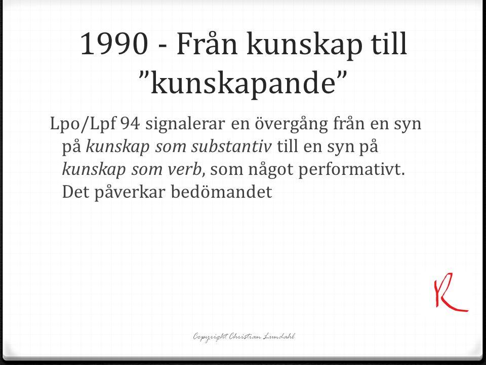 """1990 - Från kunskap till """"kunskapande"""" Lpo/Lpf 94 signalerar en övergång från en syn på kunskap som substantiv till en syn på kunskap som verb, som nå"""