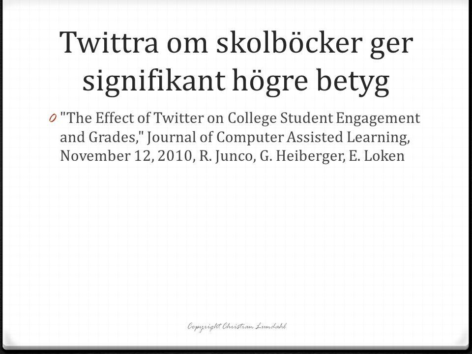 Twittra om skolböcker ger signifikant högre betyg 0