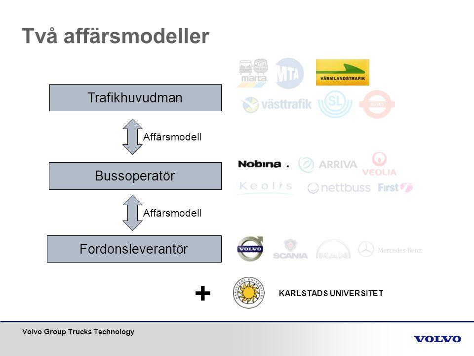 Volvo Group Trucks Technology Två affärsmodeller Trafikhuvudman Bussoperatör Fordonsleverantör Affärsmodell + KARLSTADS UNIVERSITET