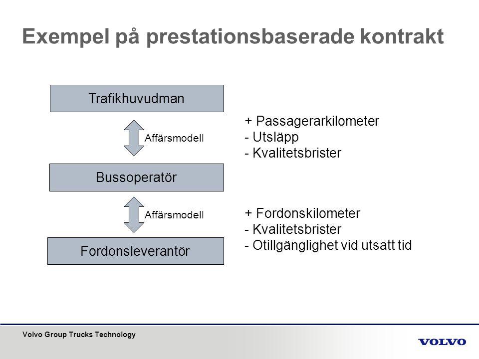 Volvo Group Trucks Technology Exempel på prestationsbaserade kontrakt Trafikhuvudman Bussoperatör Fordonsleverantör Affärsmodell + Passagerarkilometer