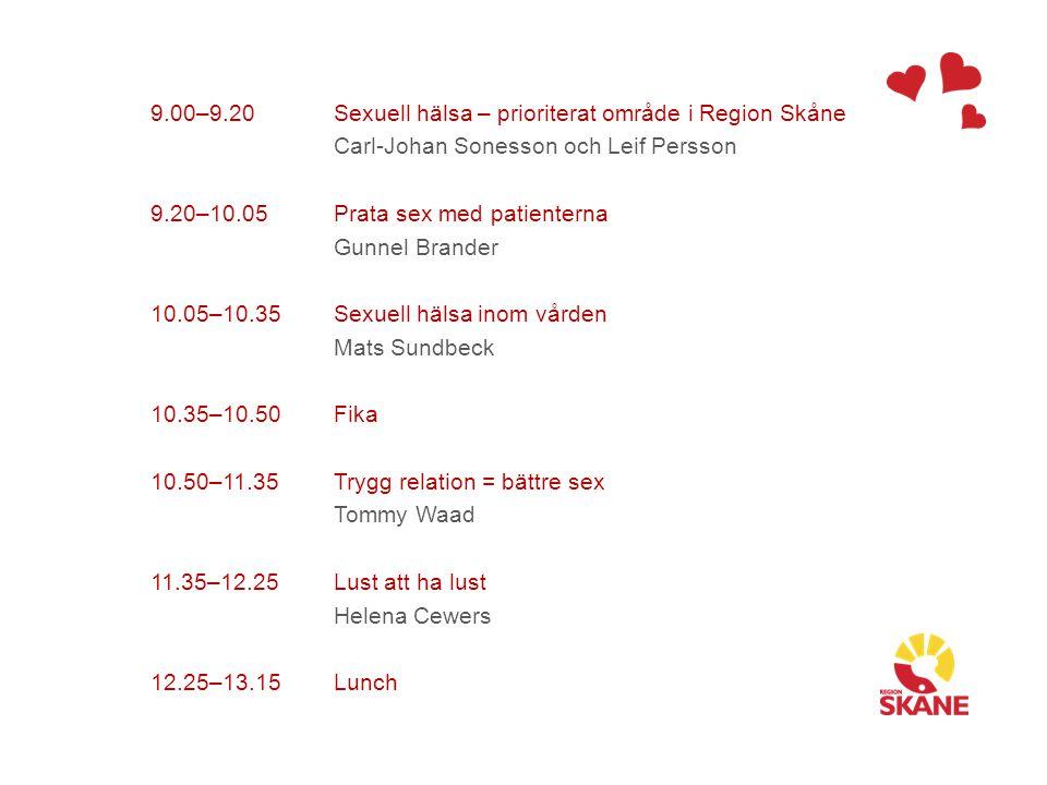 9.00–9.20 9.20–10.05 10.05–10.35 10.35–10.50 10.50–11.35 11.35–12.25 12.25–13.15 Sexuell hälsa – prioriterat område i Region Skåne Carl-Johan Sonesson