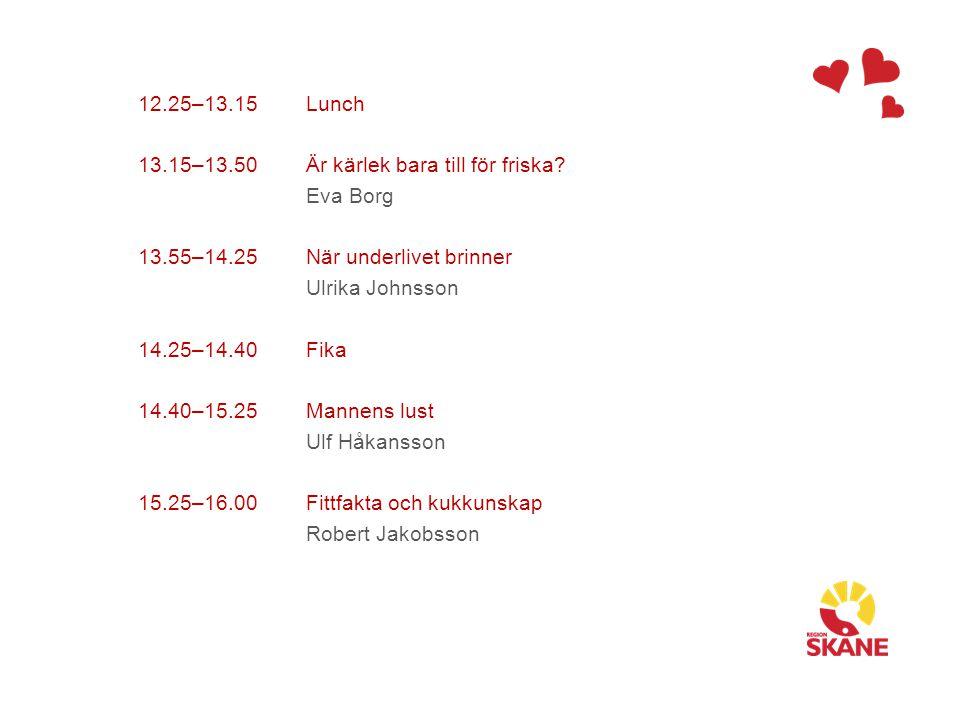 12.25–13.15 13.15–13.50 13.55–14.25 14.25–14.40 14.40–15.25 15.25–16.00 Lunch Är kärlek bara till för friska? Eva Borg När underlivet brinner Ulrika J