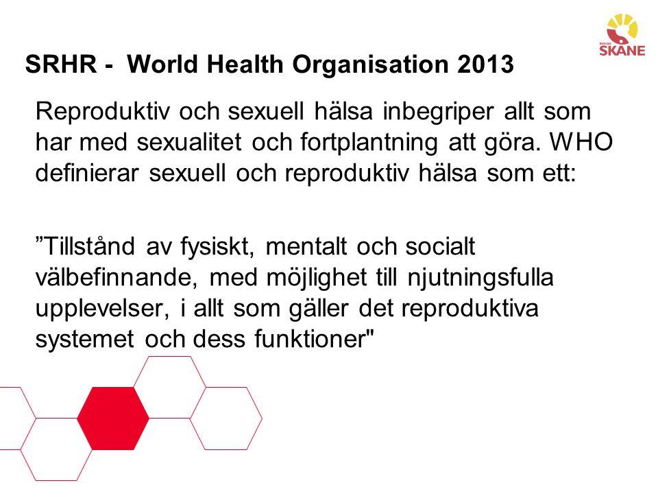 SRHR - World Health Organisation 2013 Reproduktiv och sexuell hälsa inbegriper allt som har med sexualitet och fortplantning att göra. WHO definierar