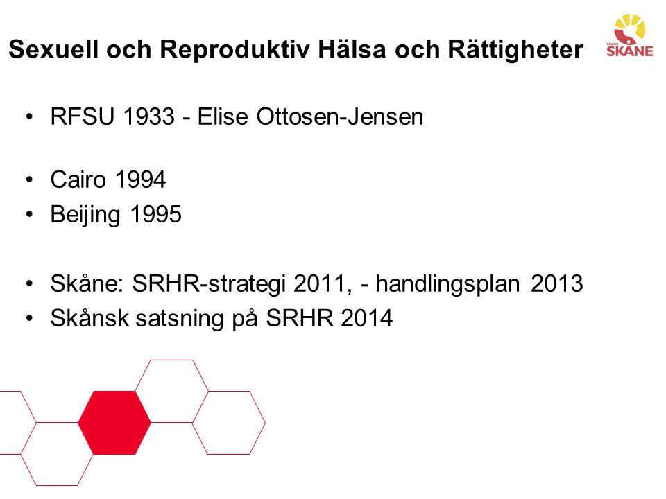 Sexuell och Reproduktiv Hälsa och Rättigheter •RFSU 1933 - Elise Ottosen-Jensen •Cairo 1994 •Beijing 1995 •Skåne: SRHR-strategi 2011, - handlingsplan